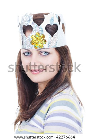 Smiling girl with blue eyes in heart paper crown isolated on white - stock photo