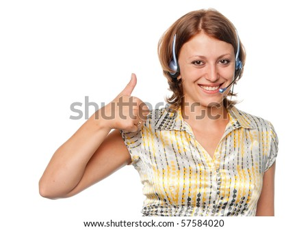 Smiling girl with ear-phones and a microphone - stock photo