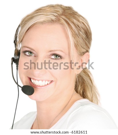 Smiling girl with headset - stock photo