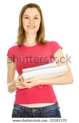 Smiling girl with magazines. Isolated on white