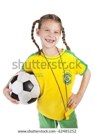 smiling girl with soccer ball