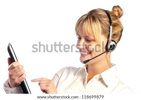 Smiling girl working in a call center