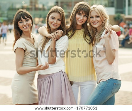 Smiling girls  - stock photo
