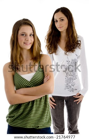 smiling girls looking at camera with white background - stock photo