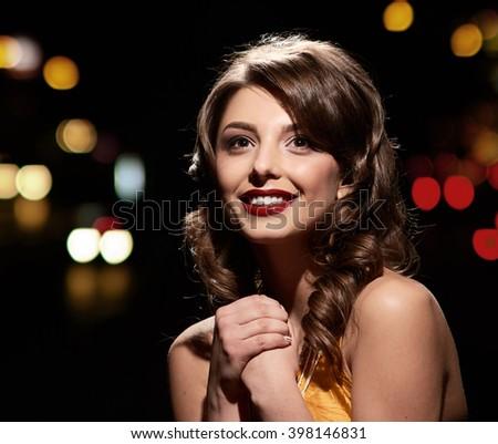 smiling glamor girl posing - stock photo