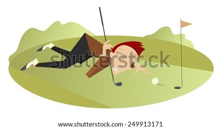 Smiling golfer is aiming to the hole      - stock photo