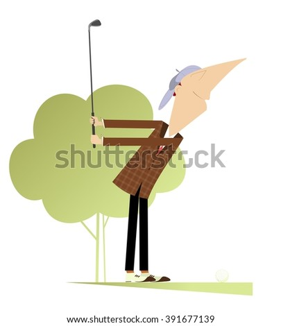 Smiling golfer on the golf course makes a short - stock photo