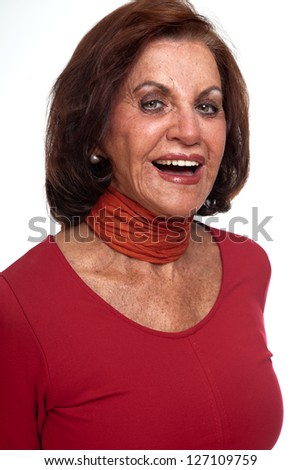Smiling good looking senior woman. Isolated.