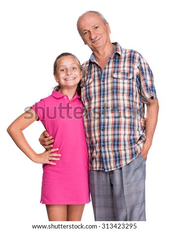 Smiling grandfather with granddaughter on a white background. Happy family time - stock photo