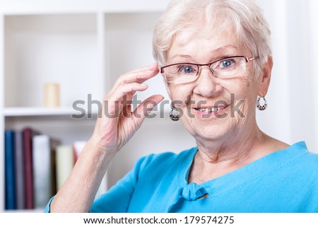 Smiling grandmother wearing reading glasses at home - stock photo