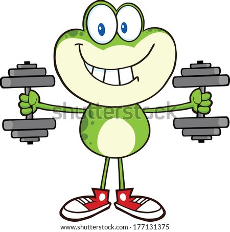 Smiling Green Frog Cartoon Mascot Character Training With Dumbbells. Raster Illustration Isolated on white