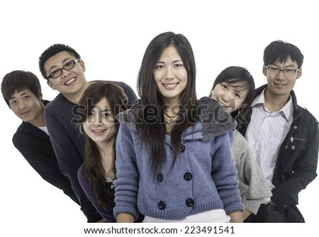 smiling group - stock photo