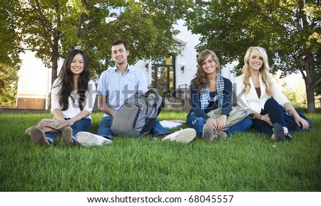Smiling Group of Attractive Students - stock photo