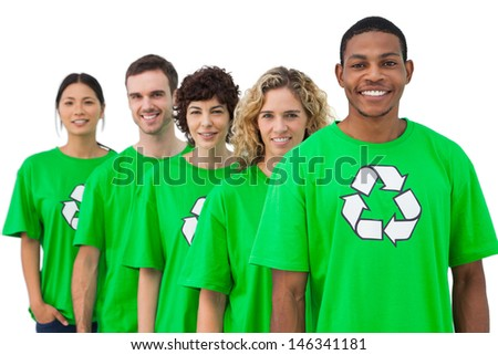 Smiling group of environmental activists on white background - stock photo