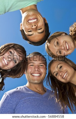Smiling group of Multi-racial Young Adults - stock photo