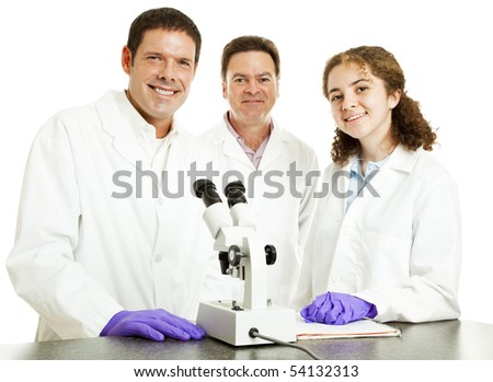 Smiling group of scientists in laboratory.  Isolated on white.