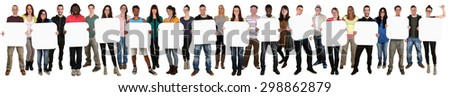 Smiling group of young multi ethnic people holding copyspace for fourteen letter or text isolated on white