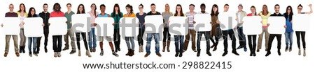 Smiling group of young multi ethnic people holding copyspace for thirteen letter or text isolated on white