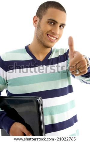 smiling guy holding notebook showing thumbs up on an isolated white background - stock photo