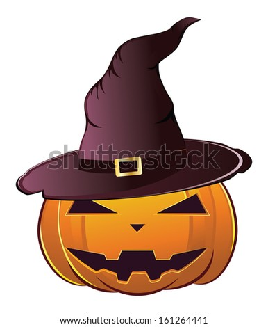 Smiling Halloween pumpkin dressed in magical witch hat. - stock photo