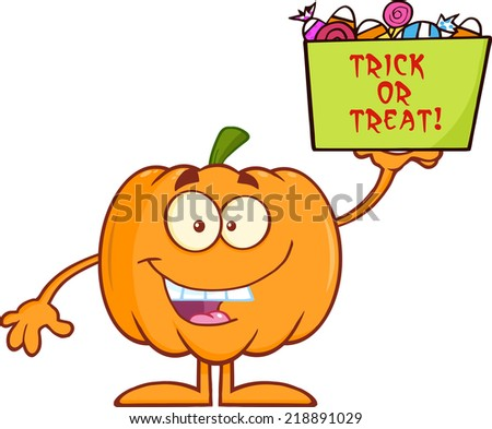 Smiling Halloween Pumpkin Mascot Character Holds A Box With Candy And Text. Raster Illustration - stock photo