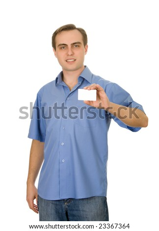 Smiling handsome guy holding a business card. - stock photo