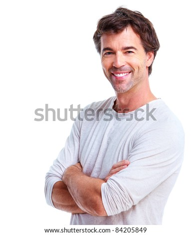 Smiling handsome man. Isolated over white background - stock photo
