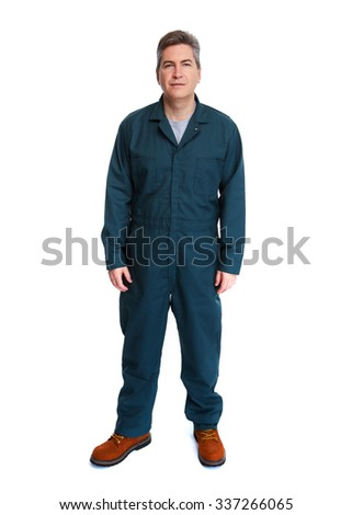 Smiling handsome plumber man. Isolated white background. - stock photo