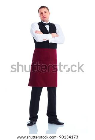 Smiling handsome waiter man. Isolated over white background. - stock photo