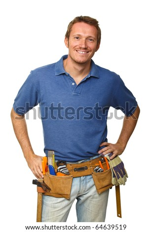 smiling handyman on white background fine portrait - stock photo