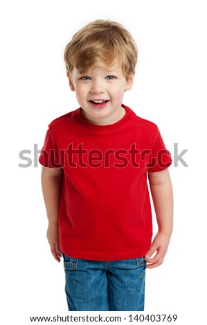 Smiling happy boy in red T-Shirt shot in the studio on a white background. - stock photo