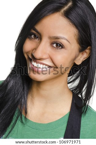 Smiling happy bright cheerful young woman - stock photo