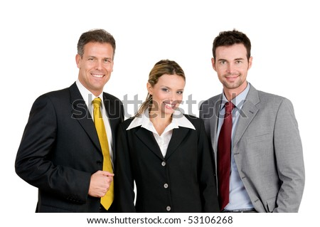 Smiling happy business team standing and looking at camera isolated on white background - stock photo