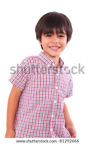 smiling happy child isolated over white background. boy - stock photo