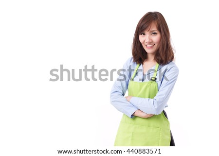 smiling, happy, confident staff, employee, shop keeper with apron, studio isolated - stock photo