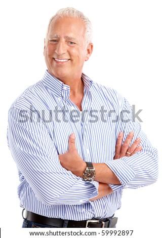 Smiling happy elderly man. Isolated over white background - stock photo