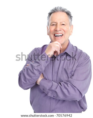 Smiling happy elderly man. Isolated over white background - stock photo