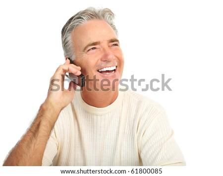 Smiling happy elderly senior man. Isolated over white background - stock photo
