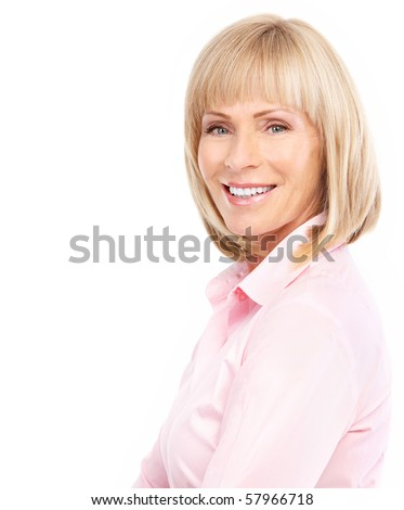 Smiling happy elderly woman. Isolated over white background - stock photo