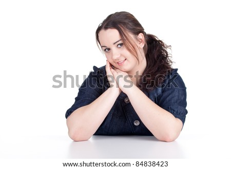 smiling happy fat beautiful young woman with long dark hair - stock photo
