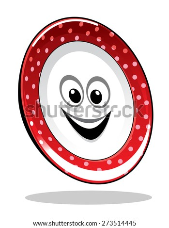 Smiling happy food plate with a colorful red rim with dots, cartoon illustration isolated on white - stock photo