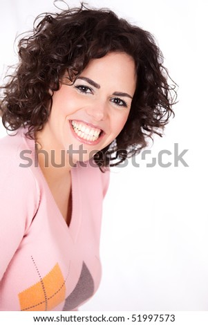 Smiling, happy girl looking at copy space - Portrait of a beautiful young  woman - stock photo