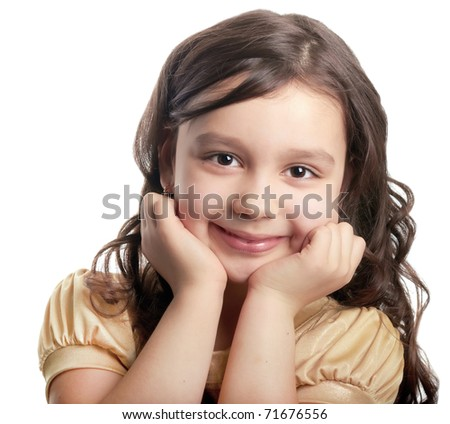 Smiling happy girl on a white background - stock photo