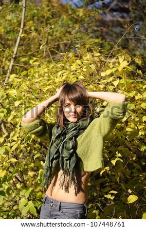 Smiling happy girl portrait, autumn outdoor. - stock photo