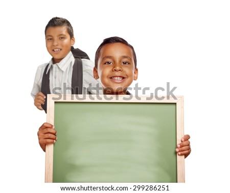 Smiling Happy Hispanic Boys Holding Blank Chalk Board Isolated on White. - stock photo