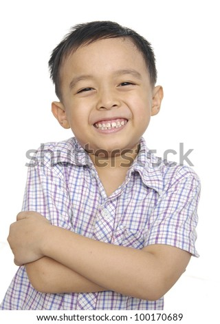 smiling happy little boy isolated - stock photo
