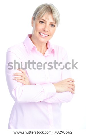 Smiling happy mature woman. Isolated over white background - stock photo