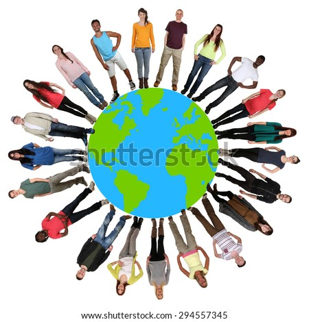 Smiling happy multicultural multi ethnic group of young people on world earth - stock photo