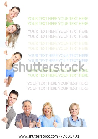 Smiling happy people group. Isolated over white background. - stock photo