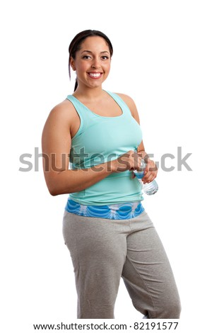 Smiling Happy Plus Size Model Holding Water Bottle before Exercise on Isolated White Background - stock photo